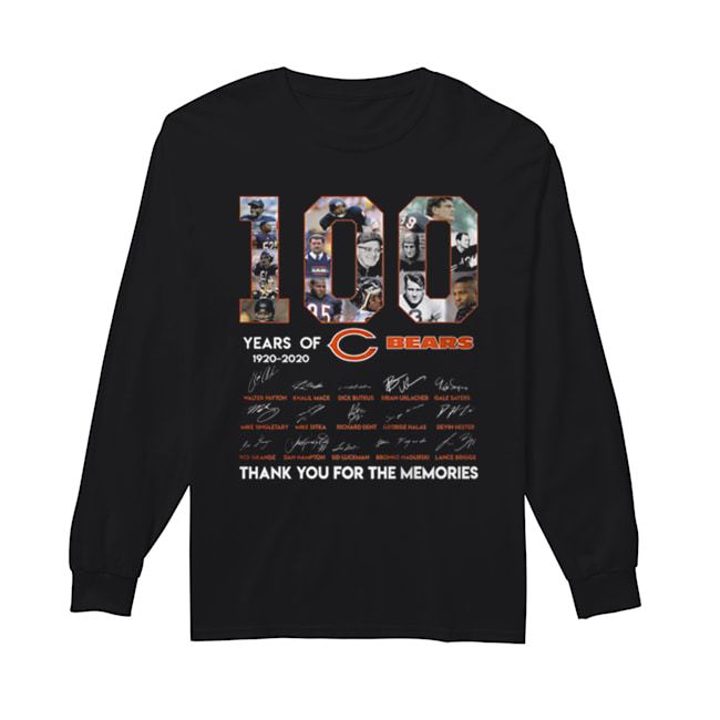 100 years of 1920-2020 Chicago Bears signatures  Long Sleeved T-shirt
