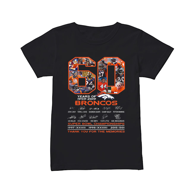 60 years of 1959-2019 Denver Broncos signatures Super Bowl Championships  Classic Women's T-shirt