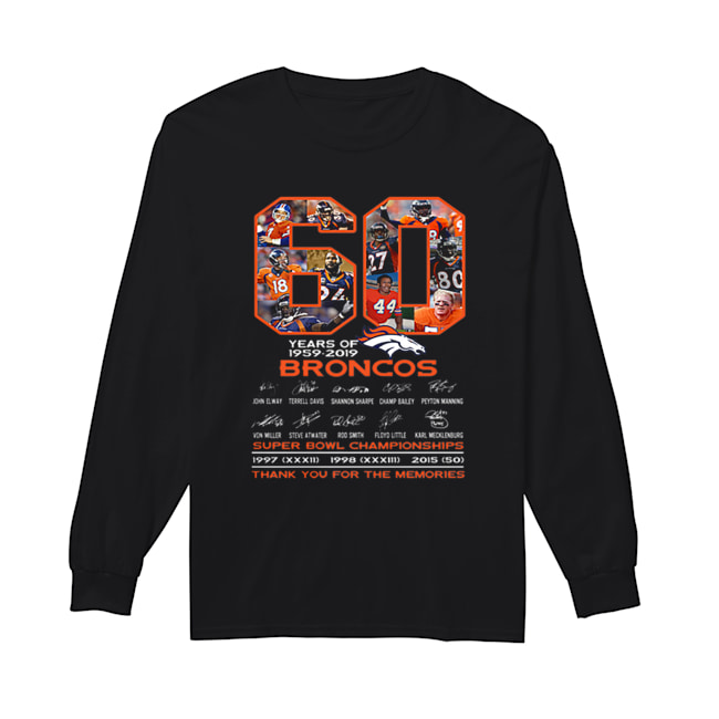 60 years of 1959-2019 Denver Broncos signatures Super Bowl Championships  Long Sleeved T-shirt