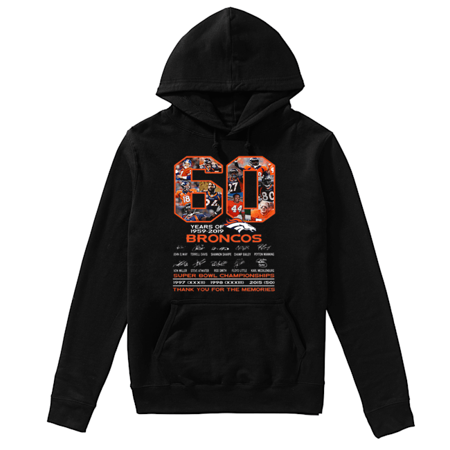 60 years of 1959-2019 Denver Broncos signatures Super Bowl Championships  Unisex Hoodie