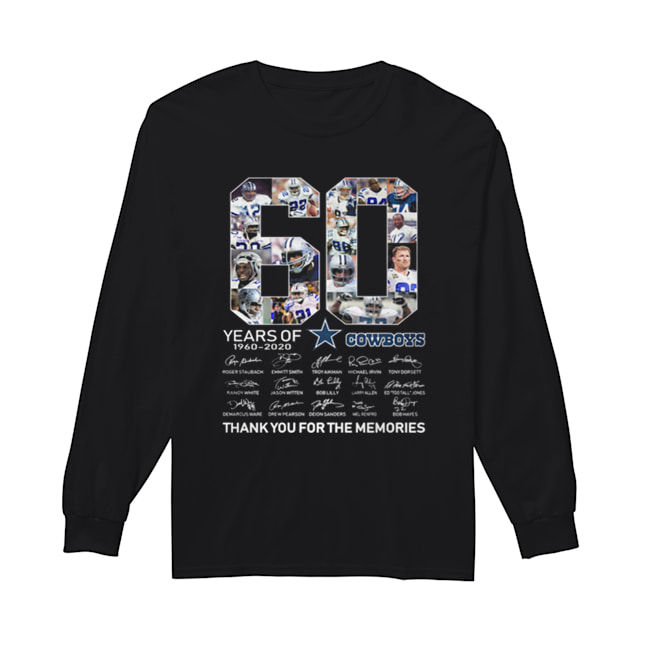 60 Years Of Dallas Cowboys 1960-2020 signatures  Long Sleeved T-shirt
