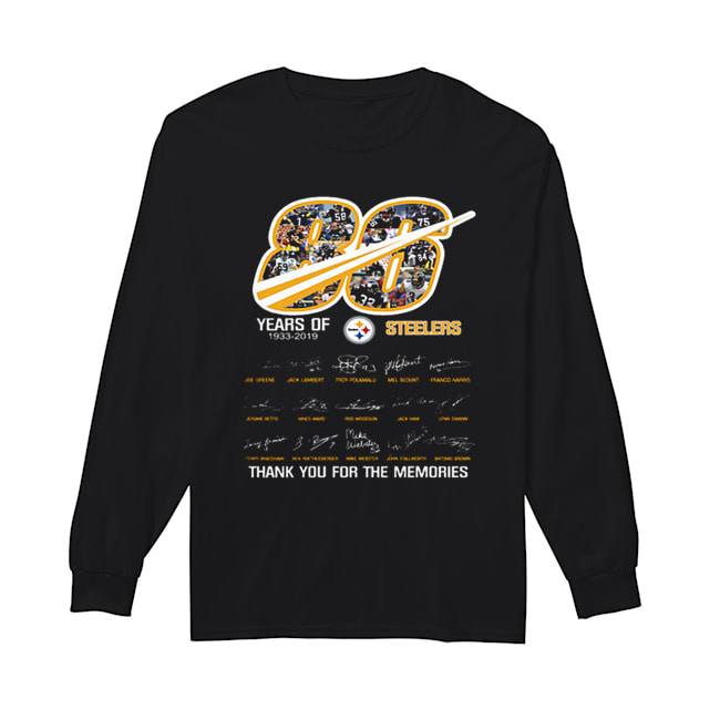 86 years of 1933-2019 Steelers thank you for the memories  Long Sleeved T-shirt