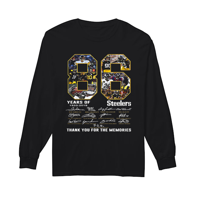 86 Years Of Pittsburgh Steelers 1933-2019 signatures  Long Sleeved T-shirt