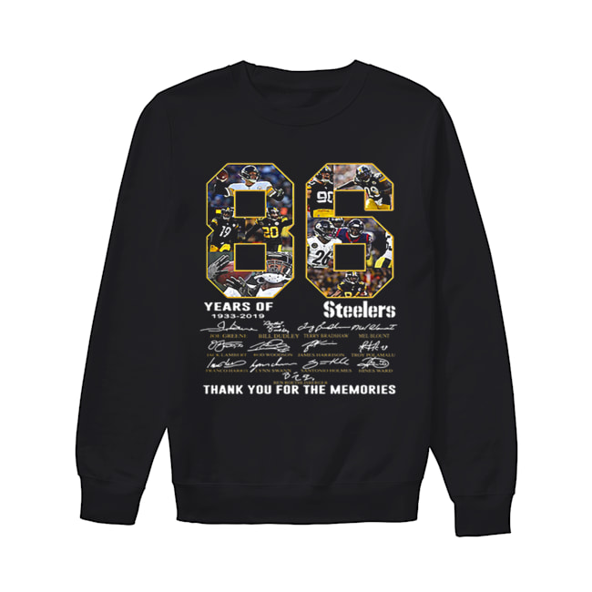 86 Years Of Pittsburgh Steelers 1933-2019 signatures  Unisex Sweatshirt