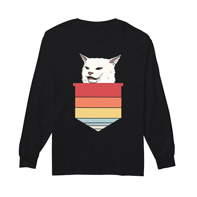 Angry women yelling at confused cat at dinner 2020  Long Sleeved T-shirt