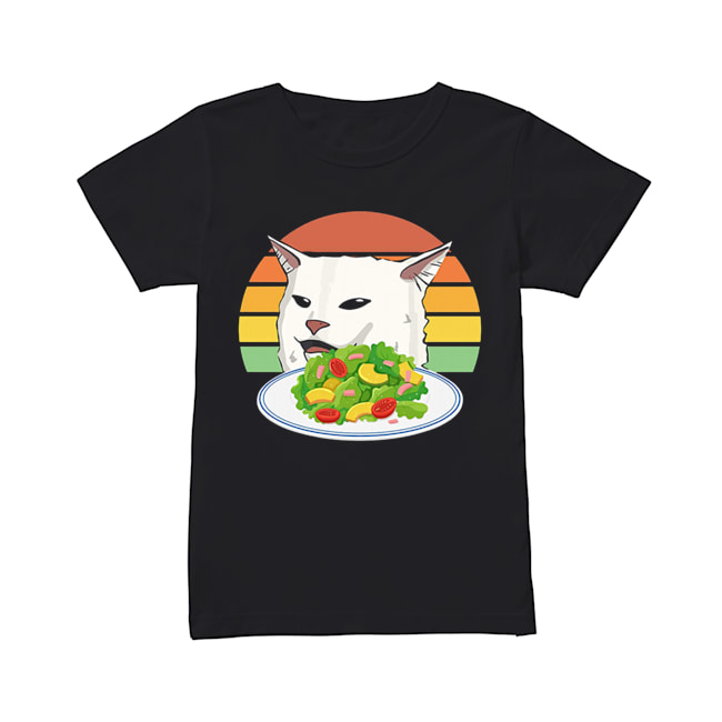 Angry women yelling at confused cat at dinner table meme  Classic Women's T-shirt