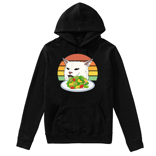 Angry women yelling at confused cat at dinner table meme  Unisex Hoodie
