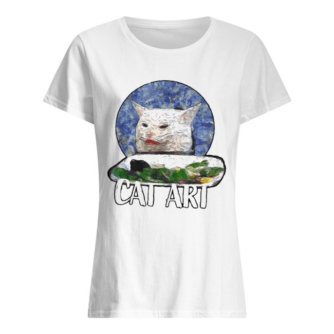 Angry yelling at confused cat at dinner table meme 2020  Classic Women's T-shirt