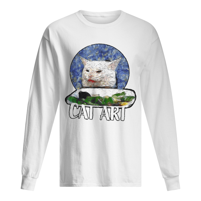 Angry yelling at confused cat at dinner table meme 2020  Long Sleeved T-shirt