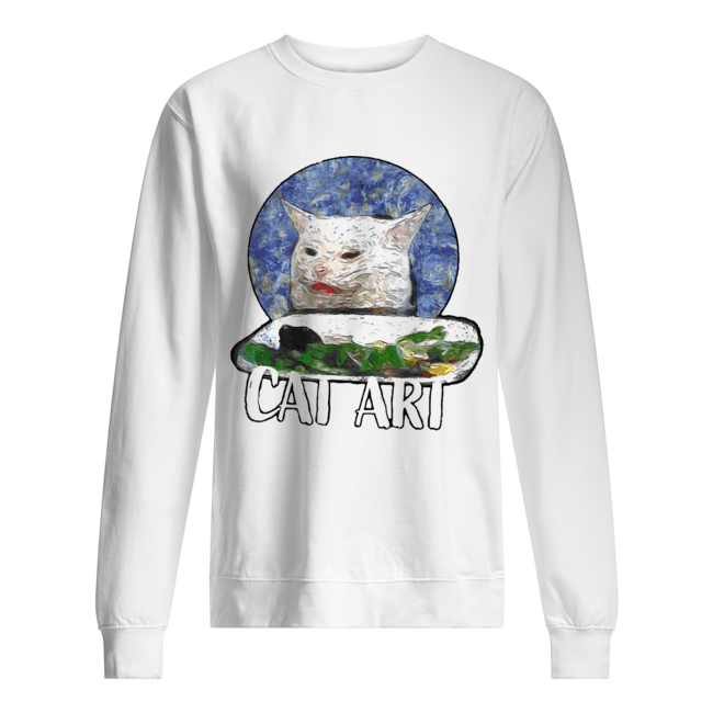 Angry yelling at confused cat at dinner table meme 2020  Unisex Sweatshirt