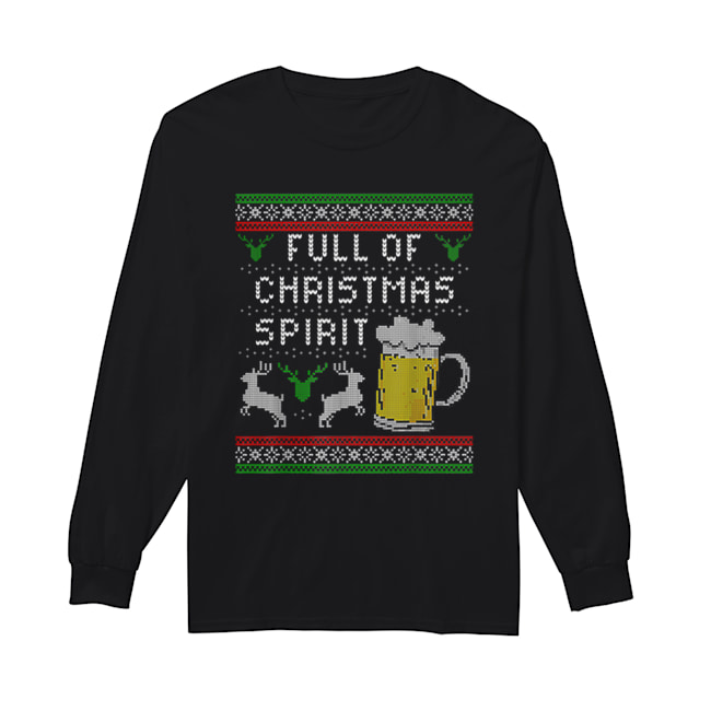 Awesome Mens Funny Ugly Christmas Beer Drinking Full Of Spirit Men  Long Sleeved T-shirt