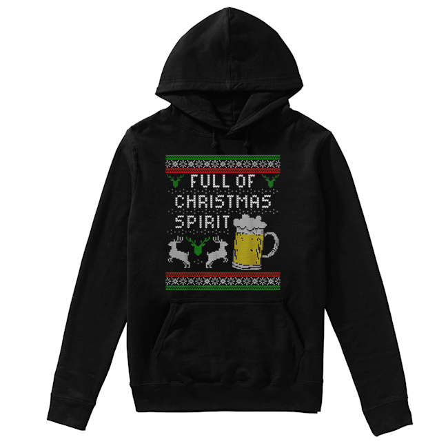Awesome Mens Funny Ugly Christmas Beer Drinking Full Of Spirit Men  Unisex Hoodie