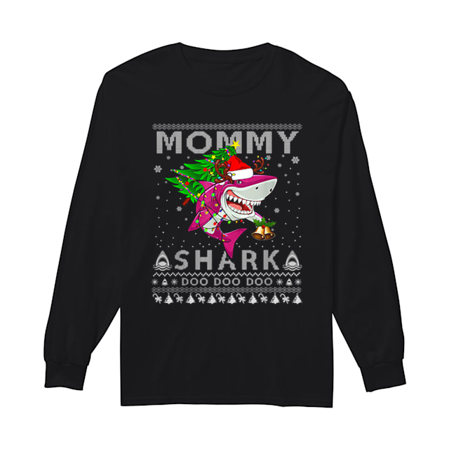 Awesome Mommy Shark Santa Christmas Family Matching Pajamas  Long Sleeved T-shirt
