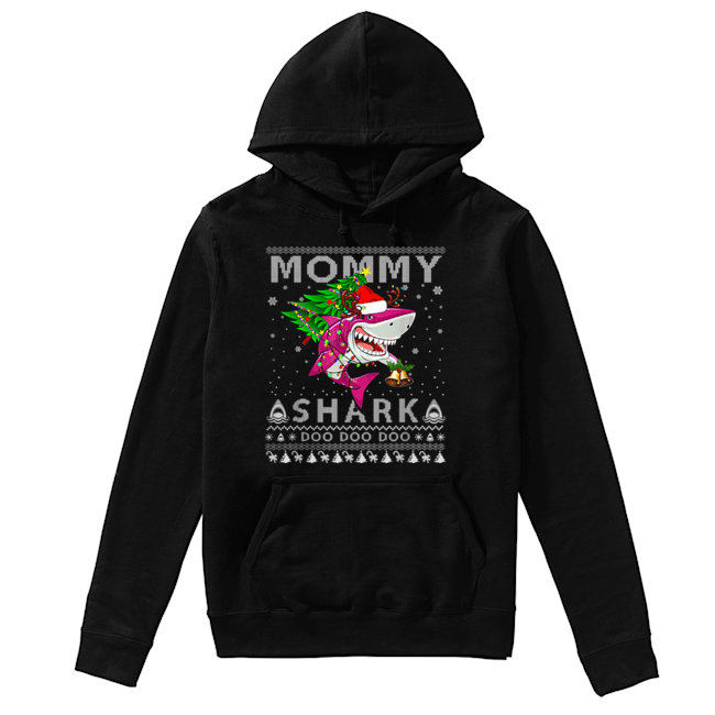 Awesome Mommy Shark Santa Christmas Family Matching Pajamas  Unisex Hoodie