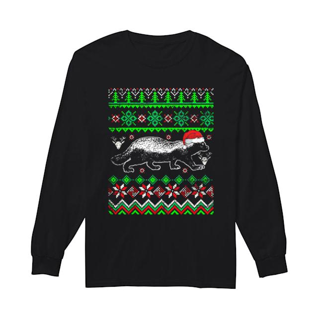 Awesome Ugly Christmas Honey Badger  Long Sleeved T-shirt