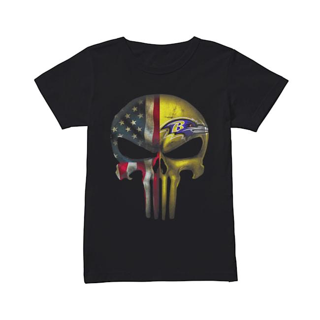Baltimore Ravens And Flag American Veteran skull  Classic Women's T-shirt
