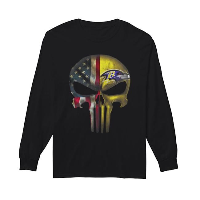 Baltimore Ravens And Flag American Veteran skull  Long Sleeved T-shirt