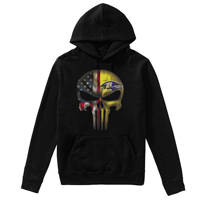 Baltimore Ravens And Flag American Veteran skull  Unisex Hoodie