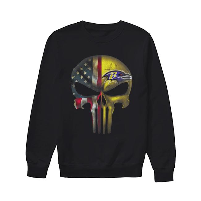 Baltimore Ravens And Flag American Veteran skull  Unisex Sweatshirt