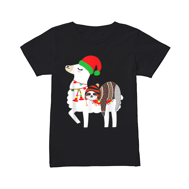 Beautiful Christmas Ugly Sweaters Sloth Riding Llama Hat Alpaca  Classic Women's T-shirt