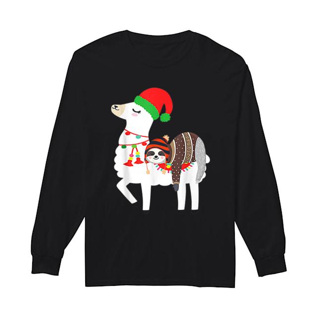 Beautiful Christmas Ugly Sweaters Sloth Riding Llama Hat Alpaca  Long Sleeved T-shirt