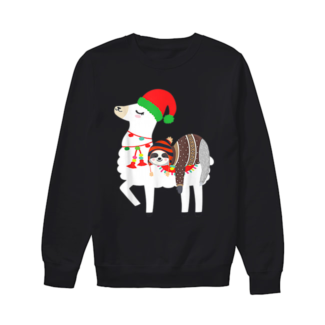 Beautiful Christmas Ugly Sweaters Sloth Riding Llama Hat Alpaca  Unisex Sweatshirt