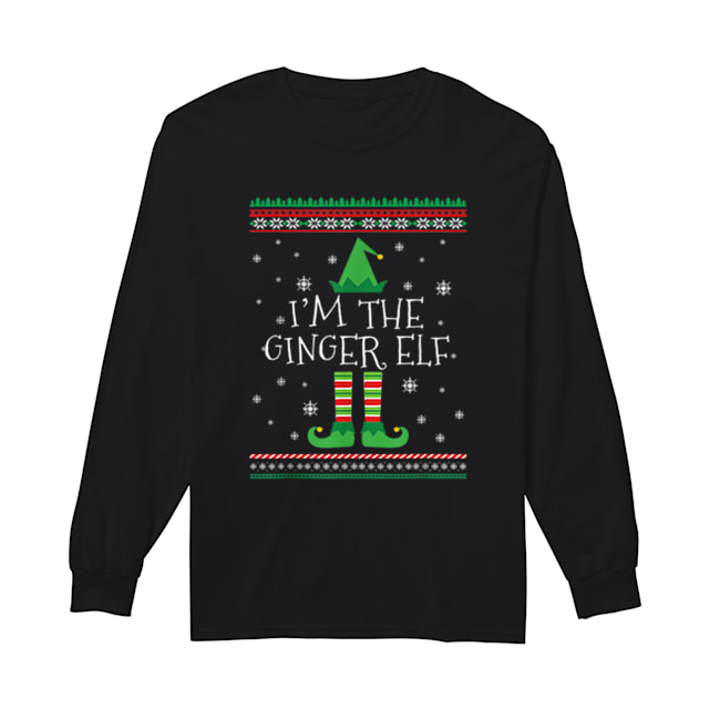 Beautiful I'm The Ginger Elf Ugly Christmas PJ  Long Sleeved T-shirt