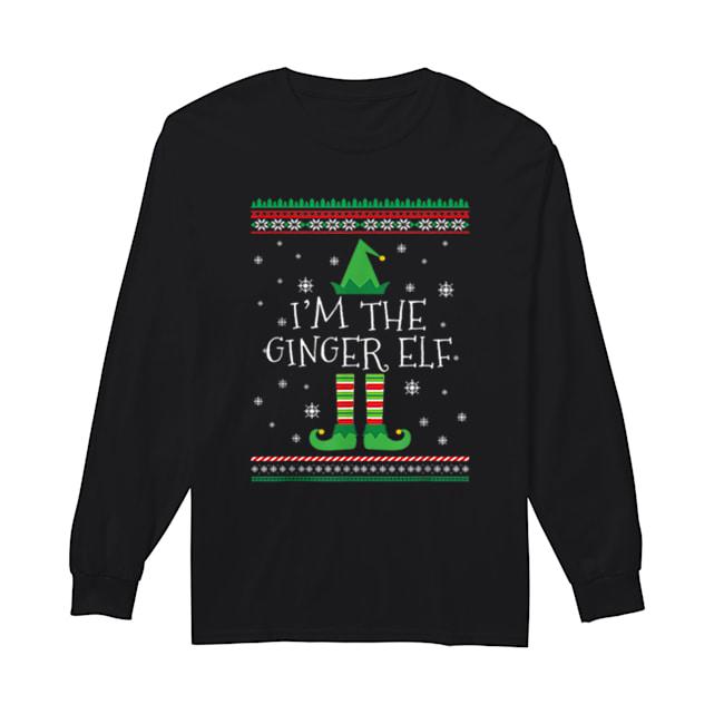 Beautiful I'm The Ginger Elf Ugly Christmas PJ  Long Sleeved T-shirt