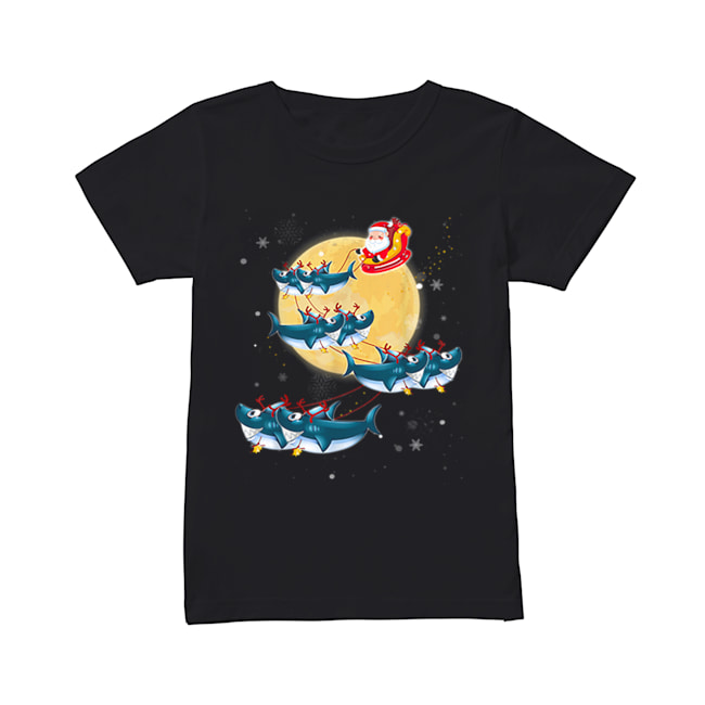 Beautiful Kids Mens Womens Santa Claus Riding Shark Christmas  Classic Women's T-shirt