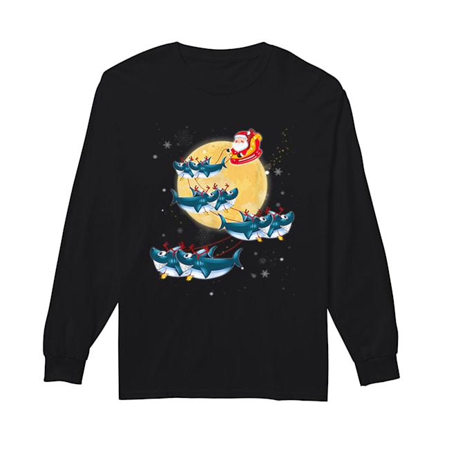 Beautiful Kids Mens Womens Santa Claus Riding Shark Christmas  Long Sleeved T-shirt