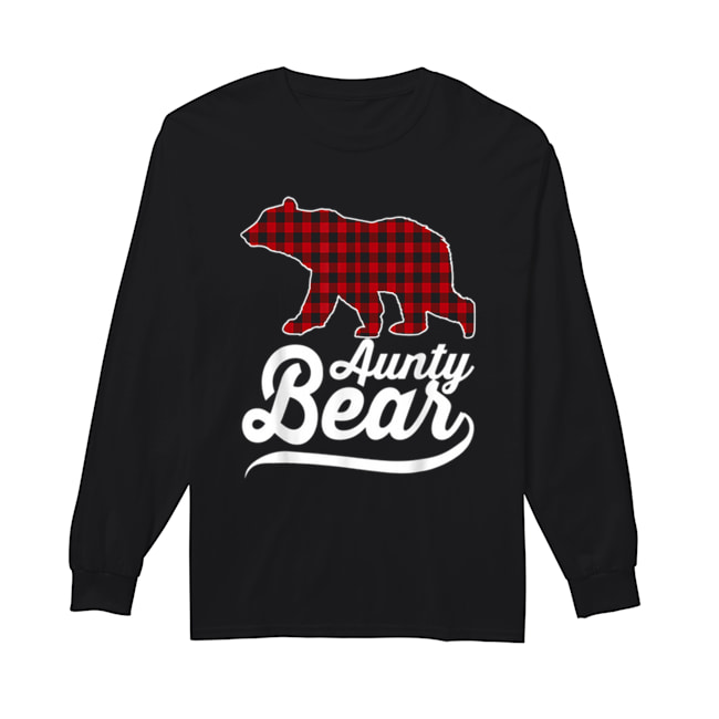 Beautiful Plaid Aunty Bear Christmas Pajama Family Ugly  Long Sleeved T-shirt