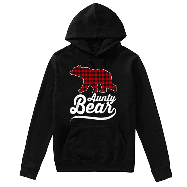 Beautiful Plaid Aunty Bear Christmas Pajama Family Ugly  Unisex Hoodie