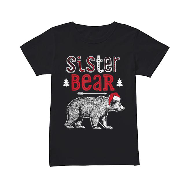 Beautiful Sister Bear Christmas Santa Family Matching Pajamas  Classic Women's T-shirt