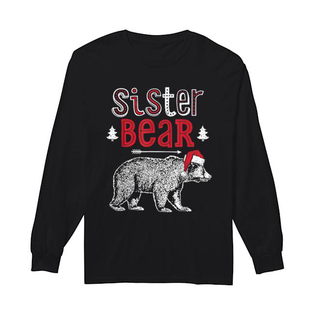 Beautiful Sister Bear Christmas Santa Family Matching Pajamas  Long Sleeved T-shirt