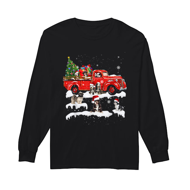 Beautiful Tibetan Terrier Riding Red Truck Xmas Merry Christmas Gifts  Long Sleeved T-shirt