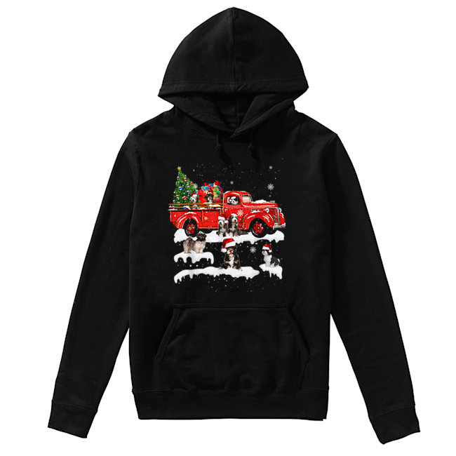 Beautiful Tibetan Terrier Riding Red Truck Xmas Merry Christmas Gifts  Unisex Hoodie