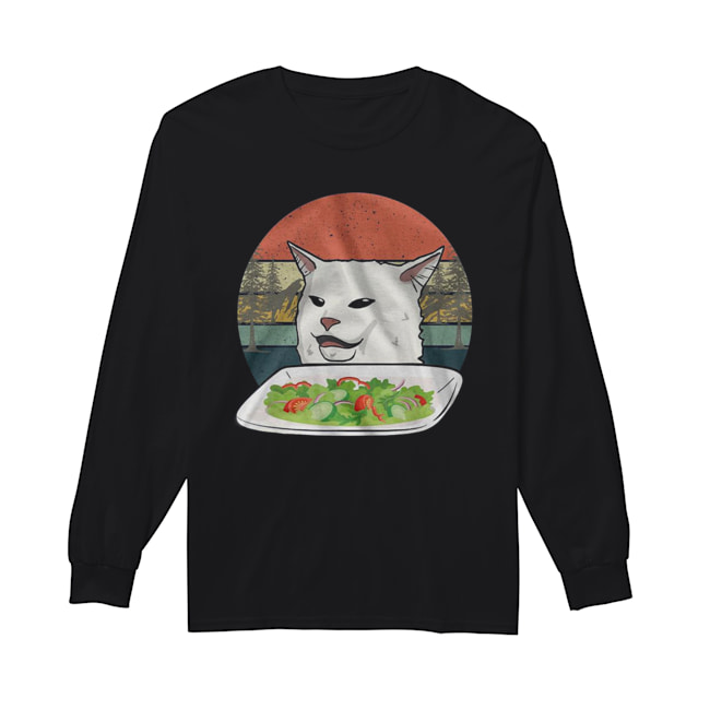 Cat Meme Woman Yelling at Cat Vintage  Long Sleeved T-shirt