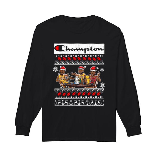 Champion Lebron James Kobe Bryant And Michael Jordan Ugly Christmas  Long Sleeved T-shirt