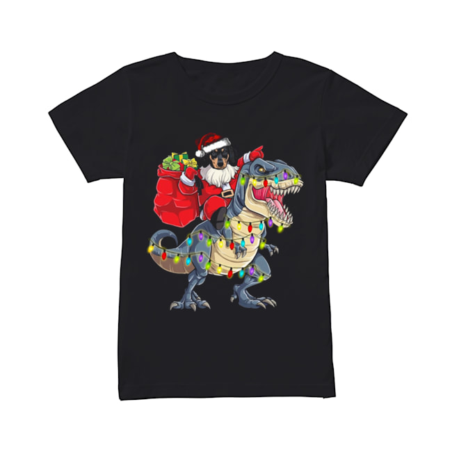 Christmas Dachshund Santa Riding Dinosaur Christmas Light  Classic Women's T-shirt