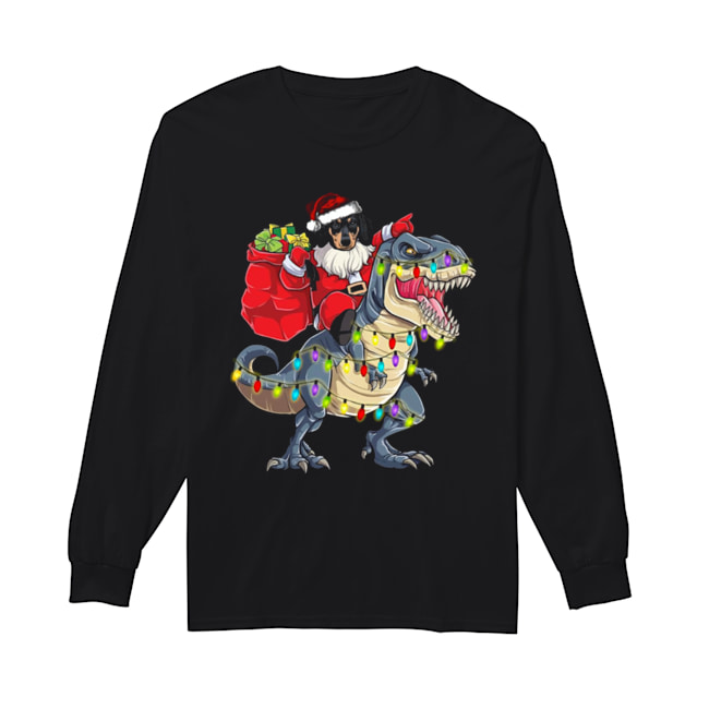 Christmas Dachshund Santa Riding Dinosaur Christmas Light  Long Sleeved T-shirt