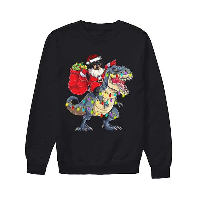 Christmas Dachshund Santa Riding Dinosaur Christmas Light  Unisex Sweatshirt