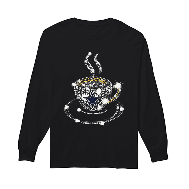 Coffee Dallas Cowboys rhinestone  Long Sleeved T-shirt