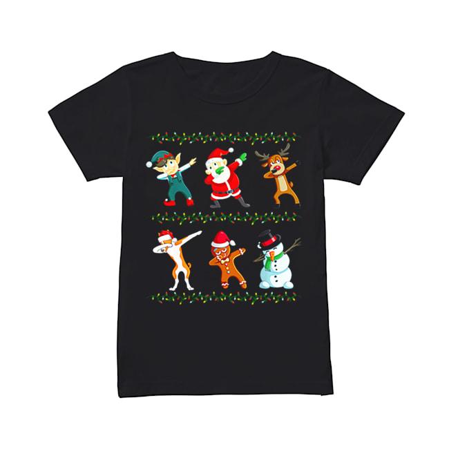 Dabbing Santa Basenji And Friends Christmas  Classic Women's T-shirt
