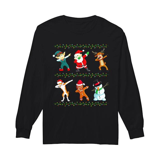 Dabbing Santa Basenji And Friends Christmas  Long Sleeved T-shirt