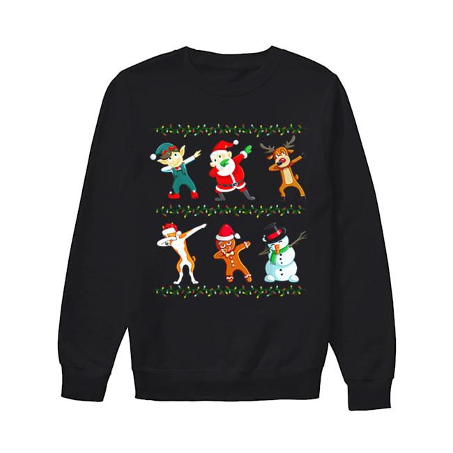 Dabbing Santa Basenji And Friends Christmas  Unisex Sweatshirt