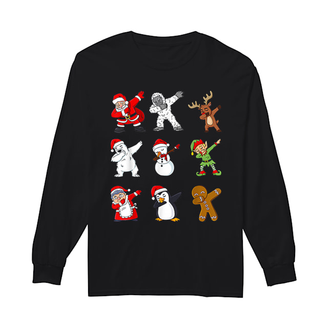 Dabbing Santa Claus And Friends Christmas  Long Sleeved T-shirt