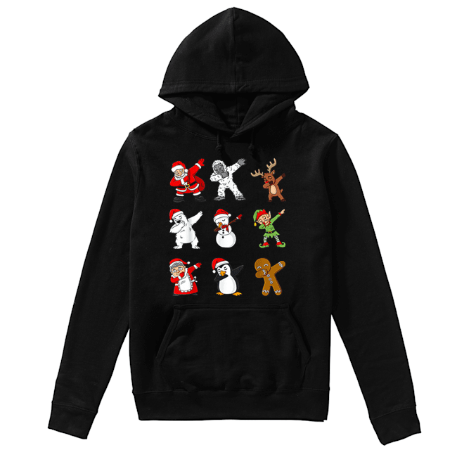 Dabbing Santa Claus And Friends Christmas  Unisex Hoodie