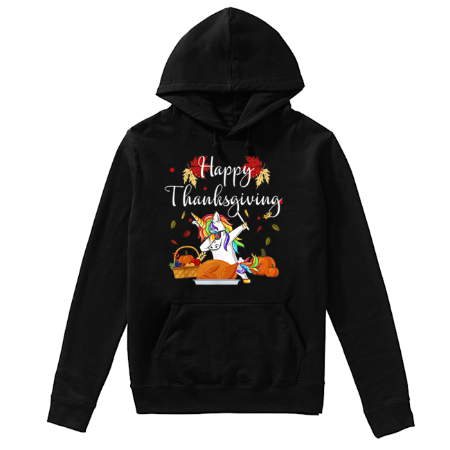 Dabbing Unicorn Dog Eating Turkey Happy Thanksgiving Day  Unisex Hoodie