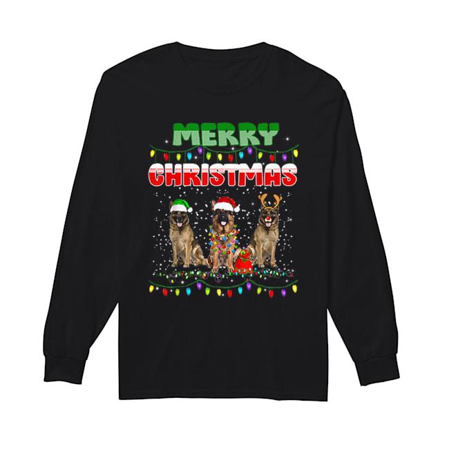 German Shepherd Christmas Light Merry Christmas  Long Sleeved T-shirt