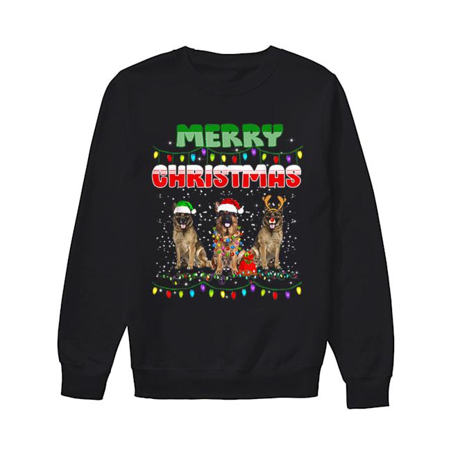 German Shepherd Christmas Light Merry Christmas  Unisex Sweatshirt